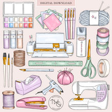 Load image into Gallery viewer, Crafting Supplies Clip Art Bundle