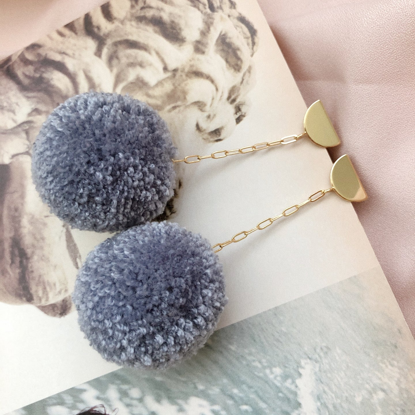 Pom Drop Earrings in Denim