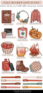 Planner Icons, Fall Fun - Bucket List Icons - TWG Designs