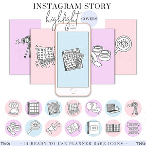 IG Story Highlight Covers, Planner Babe Instagram Story Highlight Covers - TWG Designs