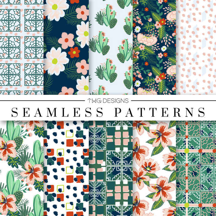 Palm Springs Seamless Patterns