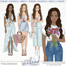 Load image into Gallery viewer, Fashion Illustrations, The Weekend Babes - Fashion Illustrations - Set 1 - TWG Designs