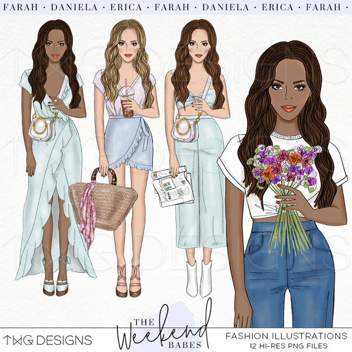 Fashion Illustrations, The Weekend Babes - Fashion Illustrations - Set 1 - TWG Designs