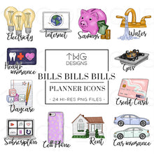 Load image into Gallery viewer, Planner Icons, Bills Bills Bills - To Do Planner Icons - TWG Designs