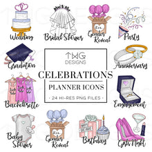 Load image into Gallery viewer, Planner Icons, Celebrations - To Do Planner Icons - TWG Designs