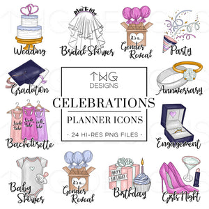 Planner Icons, Celebrations - To Do Planner Icons - TWG Designs