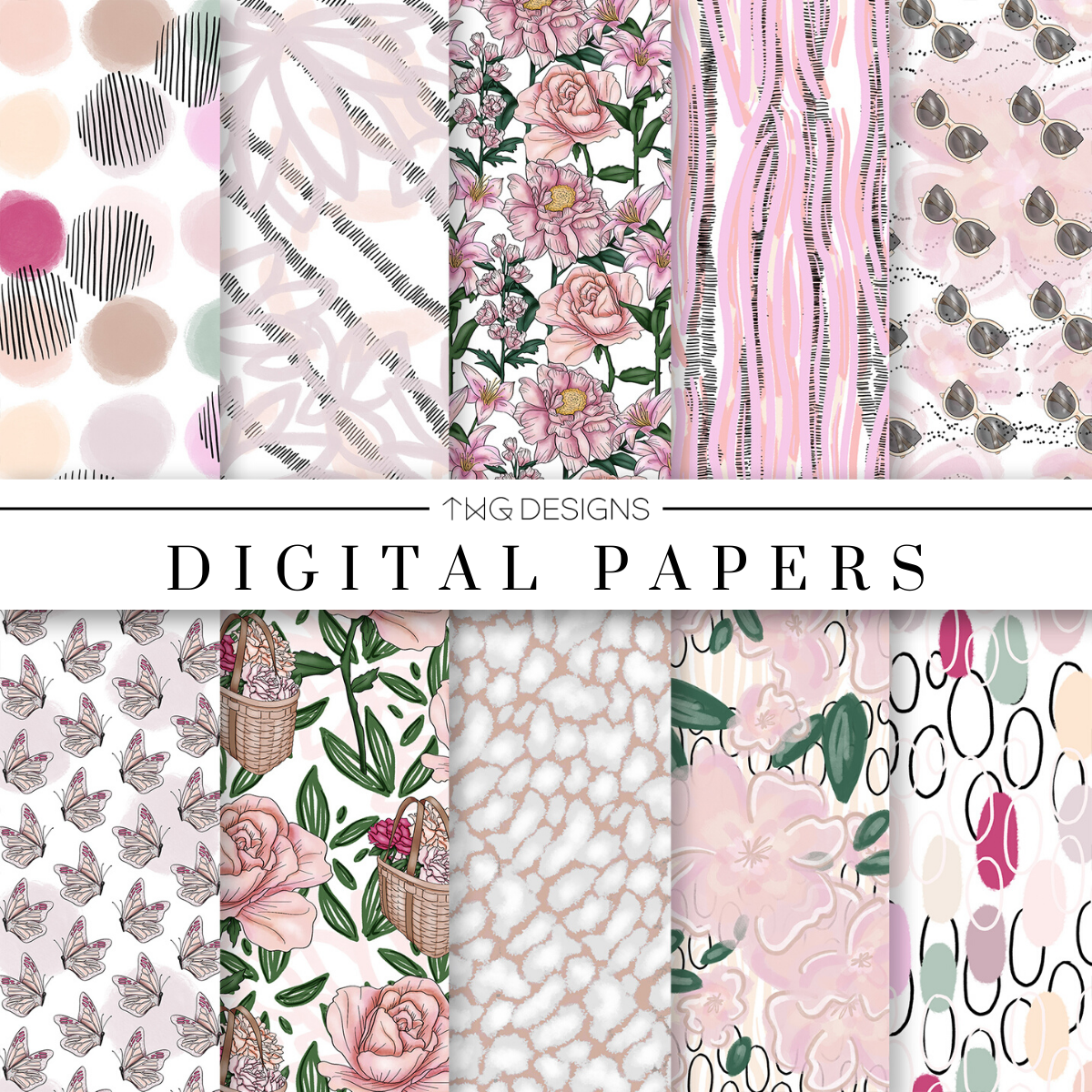 Full Bloom Digital Paper Set