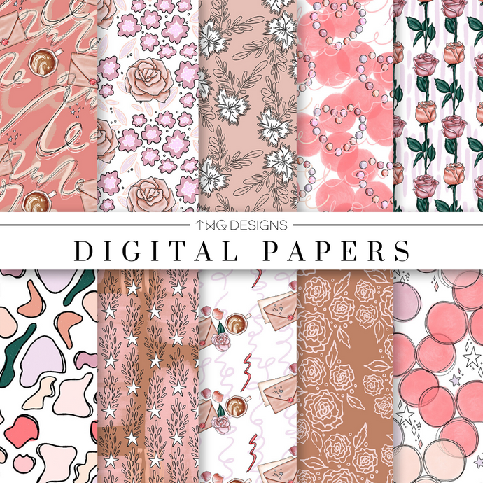 Love Letter Digital Paper Set