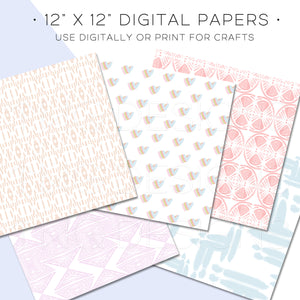 Pastel Simple Abstracts Digital Paper Set