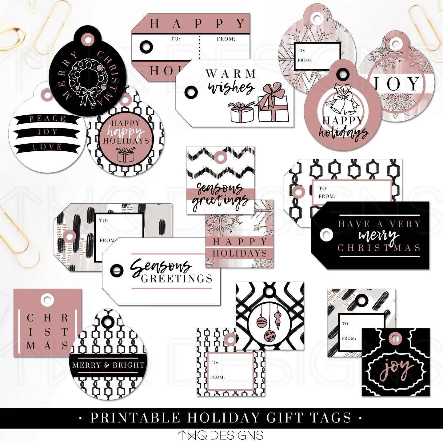 Printables, Bold Blush Holiday Gift Tags - TWG Designs