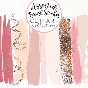 Design Elements, Blush & Gold Brush Strokes - TWG Designs