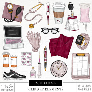 Themed Elements, Medical Clip Art Elements - TWG Designs