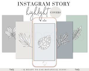 IG Story Highlight Covers, Botanical Instagram Story Highlight Covers (Cool Neutrals) - TWG Designs