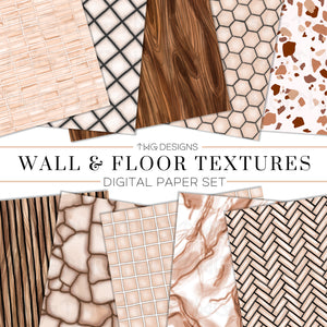 Design Elements, Wall & Floor Textures Digital Paper Bundle - TWG Designs