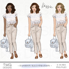 Load image into Gallery viewer, Fashion Illustrations, Kassie - Fashion Illustration - TWG Designs