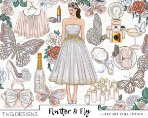 Collections, Flutter & Fly Clip Art Collection - TWG Designs