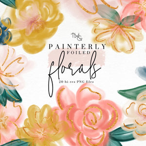 Design Elements, Painterly Floral Elements - TWG Designs