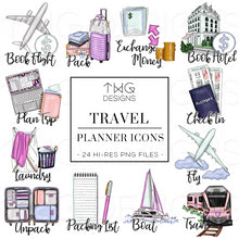 Load image into Gallery viewer, Planner Icons, Travel - To Do Planner Icons - TWG Designs