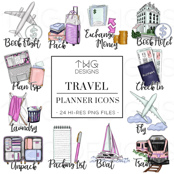 Planner Icons, Travel - To Do Planner Icons - TWG Designs