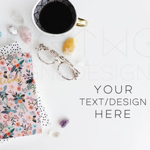 Load image into Gallery viewer, Styled Stock Photos, Notebooks, Crystals & Coffee Styled Stock Photo - TWG Designs