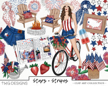 Load image into Gallery viewer, Collections, Stars + Stripes Clip Art Collection - TWG Designs