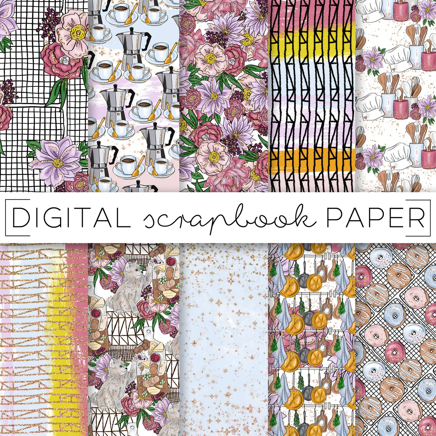 Digital Paper, Dinner Date Digital Paper Set - TWG Designs