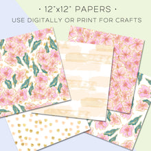 Load image into Gallery viewer, Digital Paper, Pink Foiled Florals Digital Paper Set - TWG Designs
