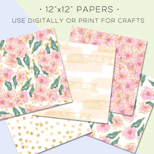 Digital Paper, Pink Foiled Florals Digital Paper Set - TWG Designs