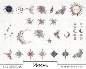 Collections, Celestial Clip Art Collection - TWG Designs