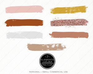 Design Elements, Rust & Rose Brush Strokes - TWG Designs