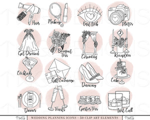 Planner Icons, Wedding Planning Icons - Blush Bundle - TWG Designs