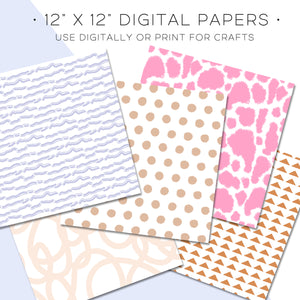 Digital Paper, Boho Love Digital Paper Set - TWG Designs