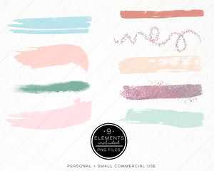 Design Elements, Mint Pastels Brush Strokes - TWG Designs