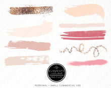 Load image into Gallery viewer, Design Elements, Blush & Gold Brush Strokes - TWG Designs
