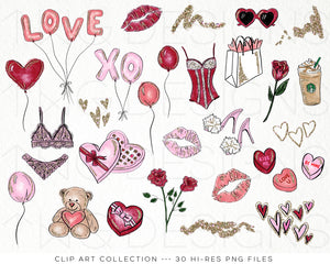 Themed Elements, Lady in Love Clip Art Bundle - TWG Designs