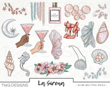 Load image into Gallery viewer, Collections, La Sirena Clip Art Collection - TWG Designs