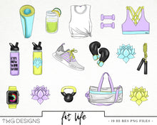 Load image into Gallery viewer, Collections, Fit Life Clip Art Collection - TWG Designs