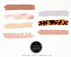 Design Elements, Warm Neutrals Brush Strokes - TWG Designs