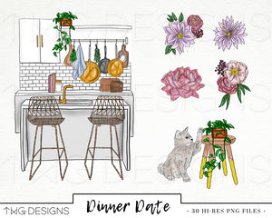 Collections, Dinner Date Clip Art Collection - TWG Designs