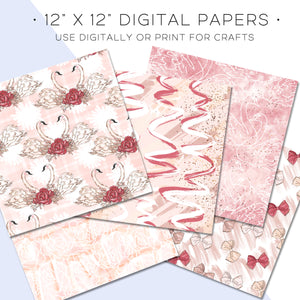 Digital Paper, Prima Ballerina Digital Paper Set - TWG Designs