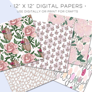 Digital Paper, Full Bloom Digital Paper Set - TWG Designs