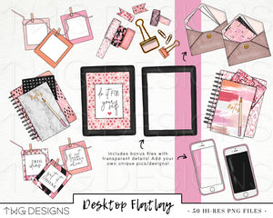 Themed Elements, Desktop Flatlay Clip Art Collection - TWG Designs