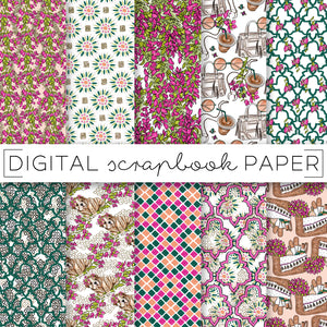 Digital Paper, Bougainvillea Digital Paper Set - TWG Designs