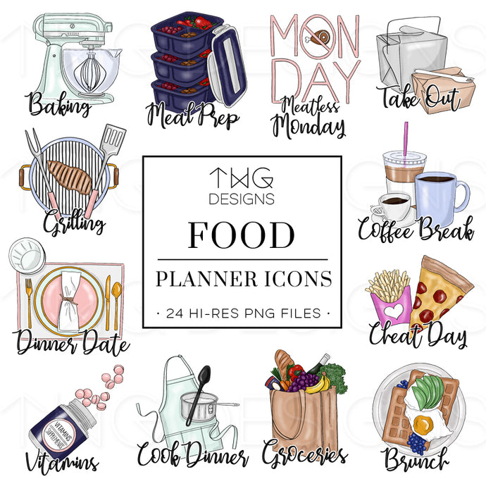 Planner Icons, Food - To Do Planner Icons - TWG Designs