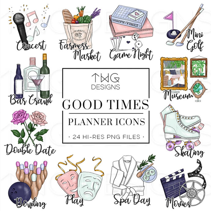 Planner Icons, Good Times - To Do Planner Icons - TWG Designs