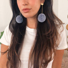 Load image into Gallery viewer, Pom Drop Earrings in Denim