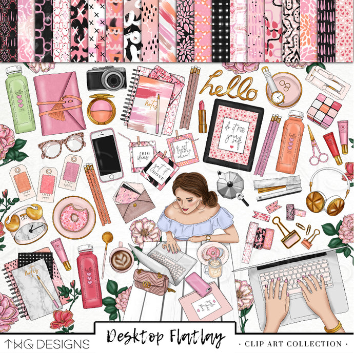 Collections, Desktop Flatlay Clip Art Collection - TWG Designs
