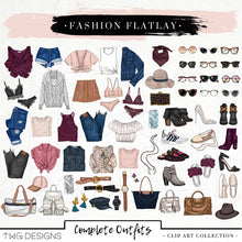 Load image into Gallery viewer, Themed Elements, Fashion Flatlay Clip Art Bundle - TWG Designs