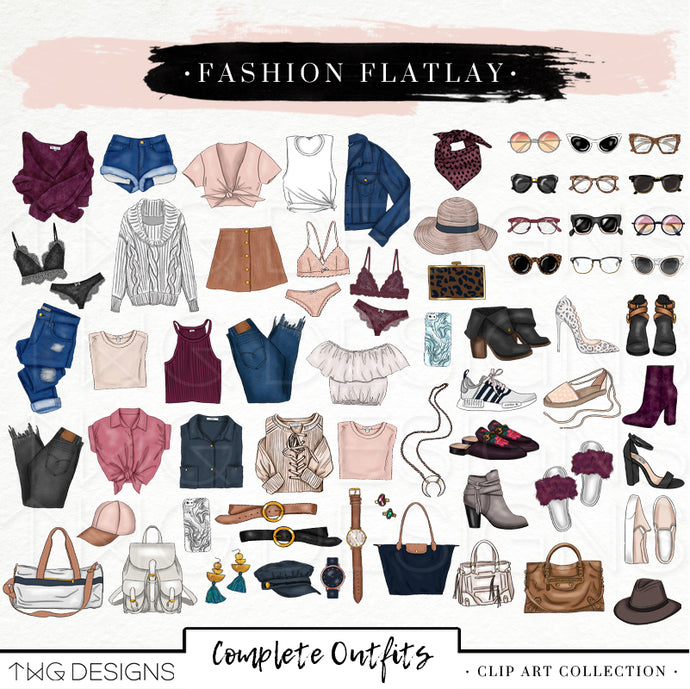 Themed Elements, Fashion Flatlay Clip Art Bundle - TWG Designs