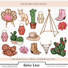 Load image into Gallery viewer, Collections, Boho Love Clip Art Collection - TWG Designs